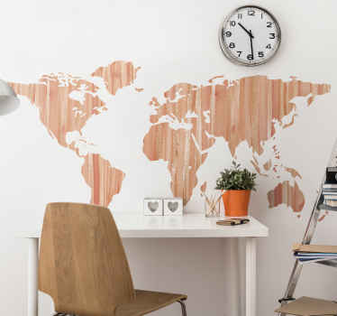 An amazing world map sticker with textured background in pastel colour. The geographic world map decal is suitable for office, business, home, etc.
