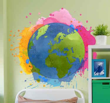 Un vinilo mapamundi infantil diseñado con los colores de la tierra envuelto por salpicaduras de pinturas acuarela ¡Elige tu tamaño!
