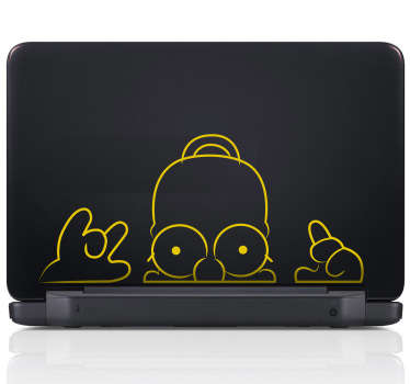Sticker pc portable Homer guette