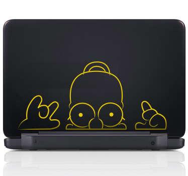 Sticker pc portable Homer guette