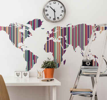 Schöne weltkarte Aufklebermit Streifen designs. Ein abstrakter geografischer kartenaufkleber, der für einen büroraum geeignet ist. Original und einfach anzuwenden.