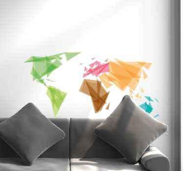 Hermoso vinilo pared mapamundi diseñado en patrón geométrico. Patrón origami de diferentes colores ¡Envío a domicilio!