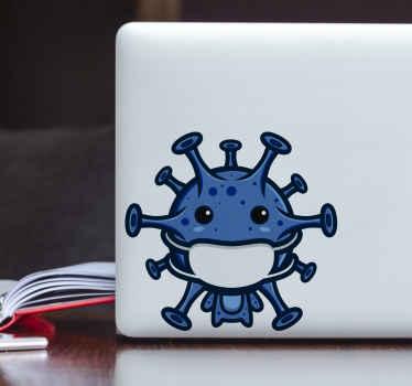 Icónico diseño de pegatina para portátiles de Covid 19 con símbolo de virus que tiene una mascarilla. Decora tu ordenador ¡Compra online!