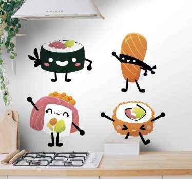 寿司を描いたさまざまな装飾的な数字のステッカー。このデザインは、家庭用または業務用のキッチンスペースに適用できます。任意のサイズでご利用いただけます。