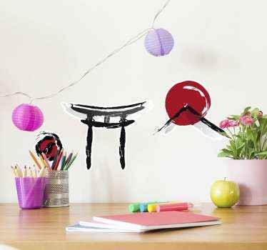 装飾的な日本のシンボルステッカーパック。デザインには、日本の伝統や文化に関連するさまざまな要素や図が含まれています。適用が簡単です。