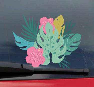 Si usted es un amante de las flores hawaianas, coloque este colorido vinilo coche con flores hawaianas a su carrito ¡Decora tu coche ahora!