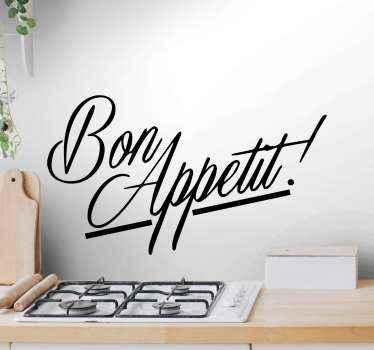 Un stickers texte de cuisine bon appétit pour décorer votre cuisine ou votre salle à manger. Nos stickers de texte de cuisine sont faits de sticker de haute qualité!