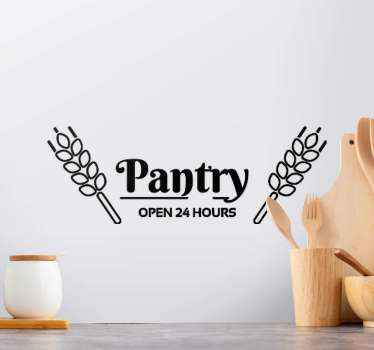 Pantry open 24 hours door sticker. Suitable design for a kitchen or food store room. You can remove the pantry room door decal sticker anytime.