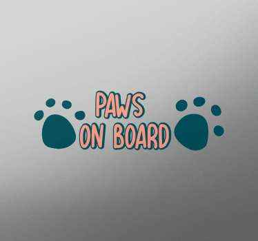 Let everyone know your pets are on board with this paw and text sticker made of high quality vinyl. Worldwide delivery for our pets stickers!