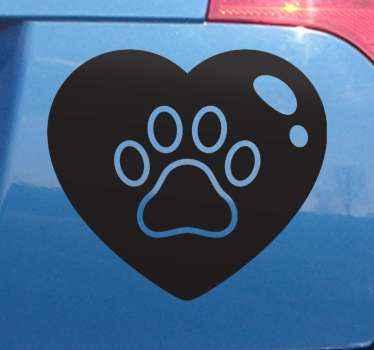 Om du är en djurälskare och skulle vilja visa det för alla gör användning av denna dow tass i stor hjärta klistermärke för att dekorera din bil.