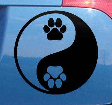 An original dow paw yin yang style auto sticker to decorate your car especially if you are a dog lover! High quality product!