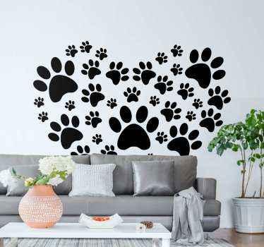 Vinilo de perros formando un corazón con huellas de diferentes tamaños. Decora con tu amor por los perros con este diseño ¡Compra online!