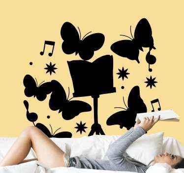 Mooie vlinders en muzieksymbool sticker om elke ruimte naar keuze te versieren, of het nu gaat om een muur, deur, raam, meubels, laptop, enz.