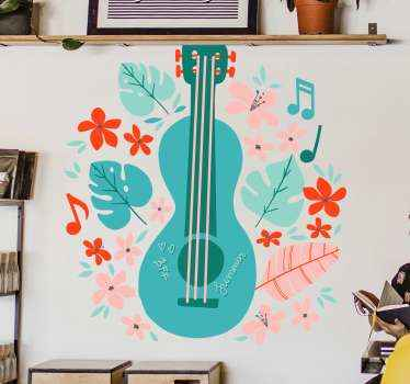 let this music wall sticker transport you, just by seeing this blue incredible guitar with multicolor  flours ! Home delivery !