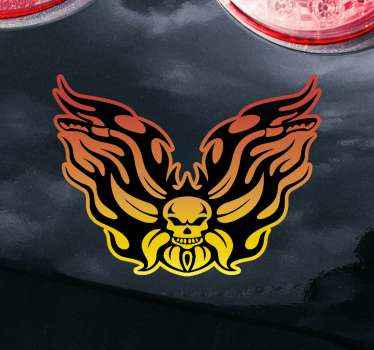 Skull with flame motorcycle Decal. The design depicts strong will and it is decorative on any flat surface. It is original and easy to apply.