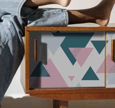 Papel adhesivo para muebles de varios triángulos de colores estilo escandinavo. Tamaño completamente personalizable ¡Decora tu hogar!