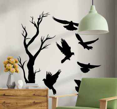 A decorative vinyl sticker design of a tree with different birds hovering around it. The design is suitable for home and other space.