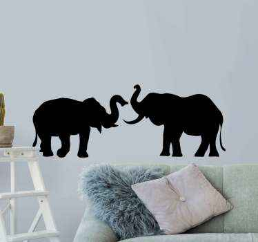 Silhouette sticker design of elephants. The design illustrates two elephants in silhouette, it is customizable in other colour options.