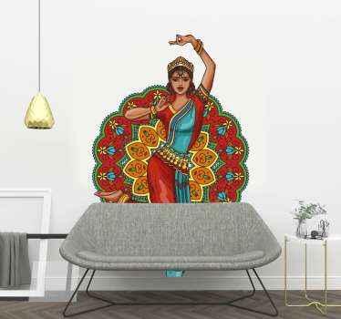 Zeichnung Aufklebereiner indischen frau tanzen von den indischen designs inspiriert. Es ist in verschiedenen größen erhältlich. Jetzt in den warenkorb legen!