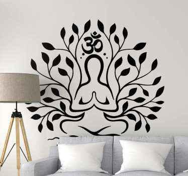 Art mural emblématique représentant une figure de yoga pour créer un bel espace et une présence de yoga. Disponible une grande variété de couleurs et de tailles.