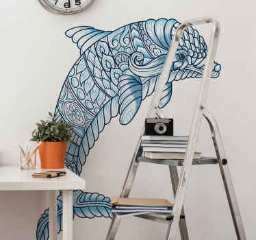 Colorful drawing sticker of a Delphine. Decorate your home with this cute sea fish decal created with an amazing texture.