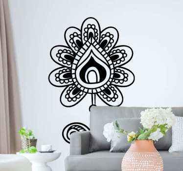 Vinilo de flores henna simple y decorativo para salón o en la estancia que tú prefieras. Elige el color y medidas ¡Decora tu casa a tu estilo!