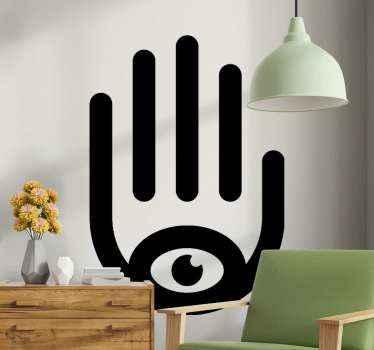 autocolante decorativo de mão hamsa para decoração de casa e outros espaços. O design é simplesmente um desenho à mão com um olho na base da palma.