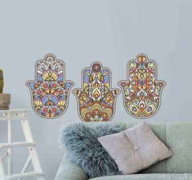 Amazing sets of  decorative ornamental hamsa  amulet stickers for your living room.  Beautiful design with different traditional ornamental features.