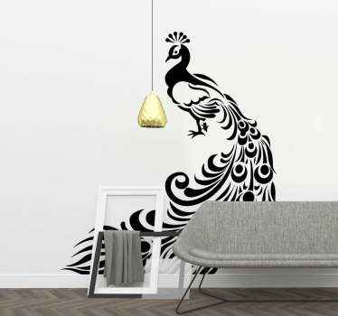 Decoratieve pauw vogel muursticker. Mooi ontwerp voor een woonkamer, het kan op elke andere ruimte worden toegepast. Origineel en zelfklevend.