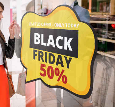 Decorative black Friday sales decal for business.  A design created on a yellow bubble background, it contains black Friday 50% sales text detail.