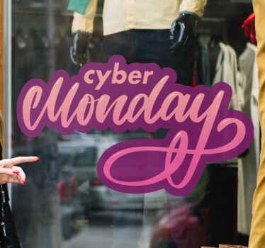 Décorez votre devanture de magasin pour les ventes du cyber lundi avec notre stickers de vacances adhésif décoratif cyber lundi. Il est original et facile à appliquer.