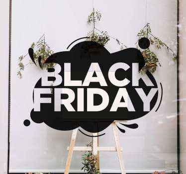 Create your black Friday sales awareness with our decorative black Fridays sales decal. A  black Friday text design on a background depicting a cloud.