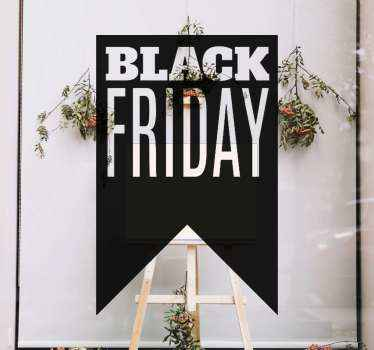 Create your black Friday sales awareness with our decorative black Fridays sales decal. A  black Friday text design on a background depicting a ribbon.