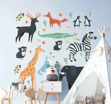 Pack of jungle animal design for your kid room. The design consist of various jungle animals such as giraffe, zebra, deer, fox, etc in cartoon style.