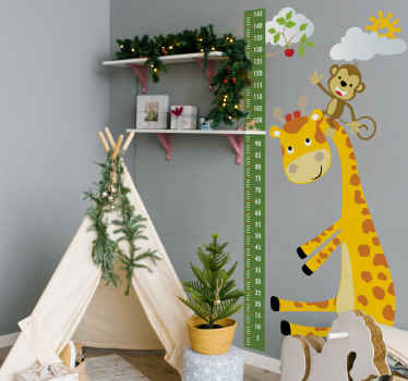 Animals meter height chart wall sticker. Fun design for children space.  A design illustrating a tree chart with giraffe carrying  a monkey on it head.