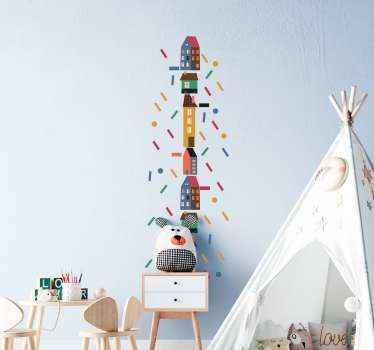 Children decorative bedroom sticker depicting a number of houses arranged on a vertical order with ornaments imitating confetti  thrown all around it.