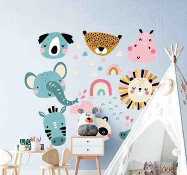 Nordic animal design for your kid room. The design host different illustrations of animal and other features that depicts cloud and rainbow.