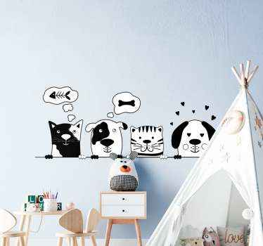 Illustrative cartoon animal for children bedroom, it features the faces of cat, rabbit, etc  all holding on a bar. Easy to apply and of high quality.