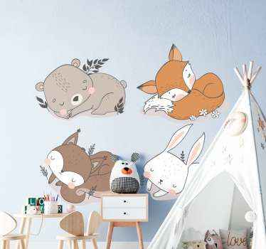 Original  cartoon animal sticker. Lovely illustrative design for children bedroom, it features tender cute cat, rabbit, etc in sleeping positions.