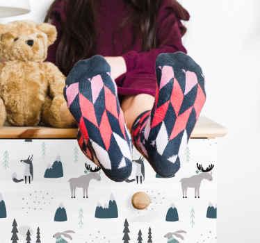 北欧の動物、観賞用の木が付いたオリジナルの家具デカール。あなたの子供の家具スペースを美化するための超楽しい方法。適用が簡単でオリジナル。