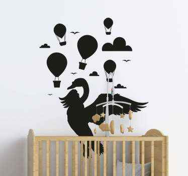 Beautiful children's room wall sticker with featured design any kid would love. The design host flying air balloon, birds, cloud and a swan.