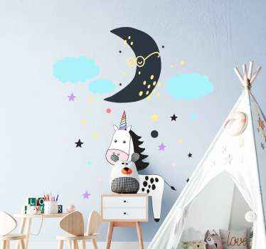 Let your kid enjoy fairy fantasy on every space they look with our decorative kids wall sticker for home feature with cloud, moon and and unicorn.