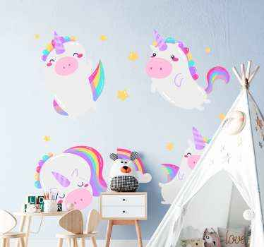 Purchase our baby nursery sticker with the design of fairy tale unicorn in rainbow style. It is self adhesive and really easy to apply.