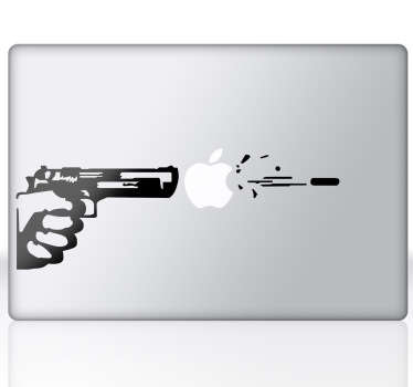 A creative silhouette design of a shooting gun to decorate your Mac or iPad! An original decal from our exclusive design from our MacBook stickers collection. This awesome decal plays around with the Apple logo to make it more fun. Surprise everyone with this awesome laptop sticker.