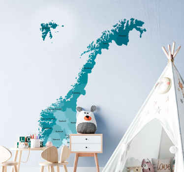 Decorative Norway map sticker suitable for children and teenager's bedroom decoration. . It is original and easy to apply.