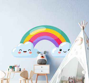 Children love things with fun and this is why we have this amazing colorful rainbow and cloud sticker for your kid. . Available in any size needed.