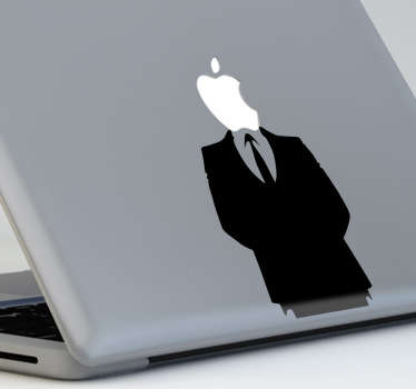 A cool apple Macbook sticker with the silhouette of a smart looking man with the Apple logo for a head.