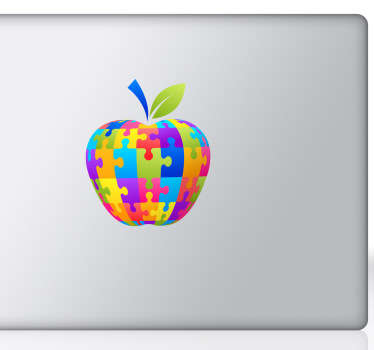 Vinilo manzana puzzle para mac