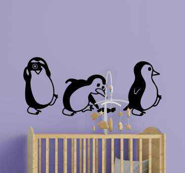 Cute set of penguins sticker. An amazing bird wall art sticker to decorate any flat surface. It is decorative on wall, furniture, window and door.