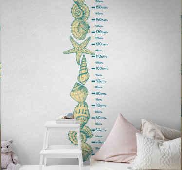 Immagina di decorare la camera da letto di tuo figlio con il nostro fantastico set di diverse sticker di conchiglie con calibrazione del grafico del metro per la metro.